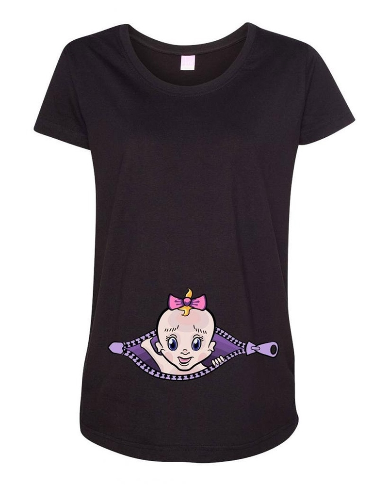 Baby girl zipper cute pregnant babies expecting mom for Newborn girl t shirts