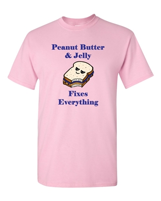 Peanut Butter And Jelly Fixes Everything Adult DT T-Shirts Tee