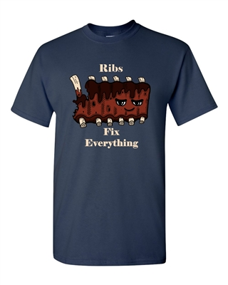 Ribs Fix Everything Adult DT T-Shirts Tee