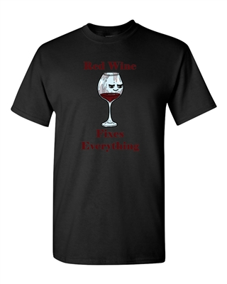 Red Wine Fixes Everything Adult DT T-Shirts Tee
